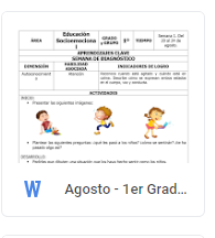Agosto - 1er Grado Educación Socioemocional (2018-2019)