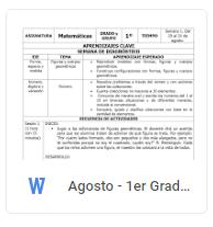 Agosto - 1er Grado Matemáticas (2018-2019)