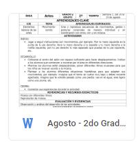 Agosto - 2do Grado Artes (2018-2019)