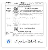 Agosto - 2do Grado Español (2018-2019)