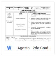 Agosto - 2do Grado Matemáticas (2018-2019)