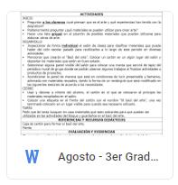 Agosto - 3er Grado Artes (2018-2019)