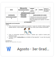 Agosto - 3er Grado Educación Socioemocional (2018-2019)