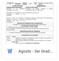 Agosto - 3er Grado Español (2018-2019)