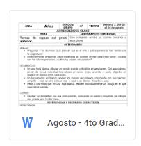 Agosto - 4to Grado Artes (2018-2019)
