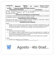 Agosto - 4to Grado Historia (2018-2019)