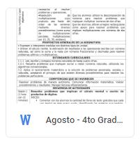 Agosto - 4to Grado Matemáticas (2018-2019)