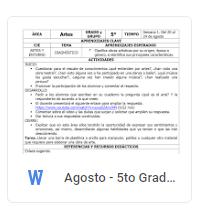 Agosto - 5to Grado Artes (2018-2019)