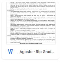 Agosto - 5to Grado Educación Socioemocional (2018-2019)