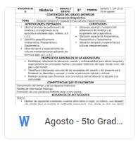 Agosto - 5to Grado Historia (2018-2019)