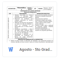 Agosto - 5to Grado Matemáticas (2018-2019)