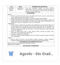 Agosto - 6to Grado Artes (2018-2019)