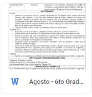 Agosto - 6to Grado Educación Socioemocional (2018-2019)