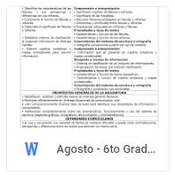 Agosto - 6to Grado Español (2018-2019)
