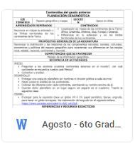 Agosto - 6to Grado Geografía (2018-2019)