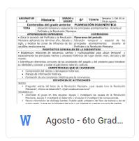 Agosto - 6to Grado Historia (2018-2019)